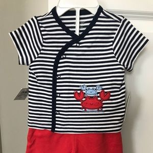 Little Me Baby Boy Set Blue Red NWT 3 Months